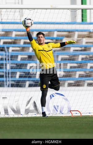 Marbella, Spain. 11th Jan, 2017. Dortmund goalkeeper Roman Buerki training at the Borussia Dortmund training camp - Stockfoto