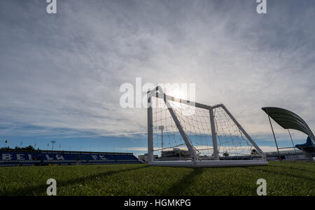 Marbella, Spain. 11th Jan, 2017. A small goal can be seen against the cloudy sky and the setting sun at the Borussia - Stock Photo