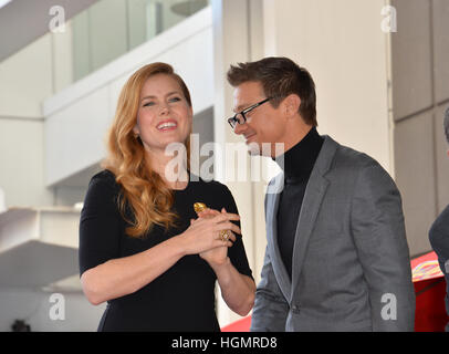 Los Angeles, USA. 11th Jan, 2017. Amy Adams & Jeremy Renner at Hollywood Walk of Fame Star Ceremony honoring actress - Stockfoto