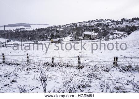 Selkirk, Schottland, Großbritannien. 12. Januar 2017. Schnee am Stadtrand von Selkirk in den Scottish Borders. © - Stockfoto