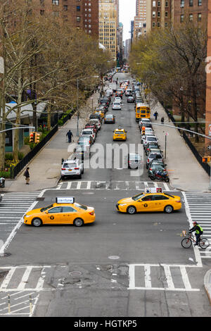 Looking along West 26th Street in New York from the High Line - Stock Photo