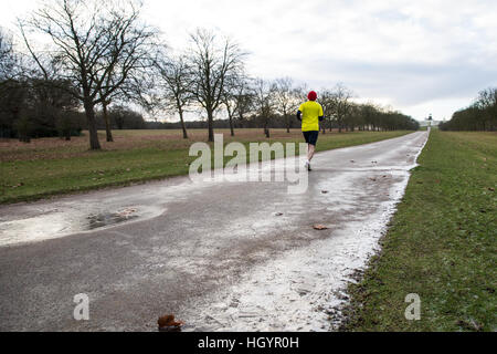 Windsor, UK. 13th January, 2017. A runner in icy conditions on the Long Walk in Windsor Great Park. Credit: Mark - Stock Photo