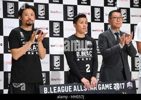 Tokyo, Japan. 15th Jan, 2017. (L-R) Yuta Tabuse (Brex), Yuki Togashi (Jets), Masaaki Okawa Basketball : B.LEAGUE - Stock Photo