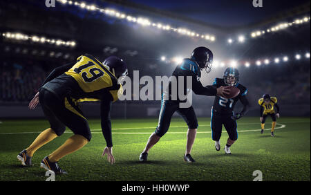 Furious american football players fighting for ball. Mixed media - Stock Photo