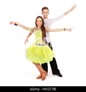 Boy and girl dancing ballroom dance on white background - Stockfoto