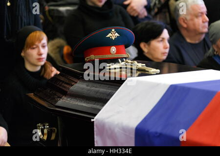 Moscow region, Russia. 16th January 2017. Funeral of Tupolev Tu-154 plane crash victims at the Federal Military - Stock Photo