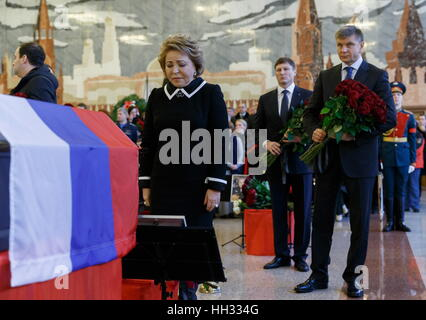 Moscow region, Russia. 16th January 2017. Russian Federation Council Chairperson Valentina Matvienko at a farewell - Stockfoto