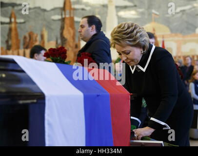 Moscow region, Russia. 16th January 2017. Russian Federation Council Chairperson Valentina Matvienko at a farewell - Stock Photo