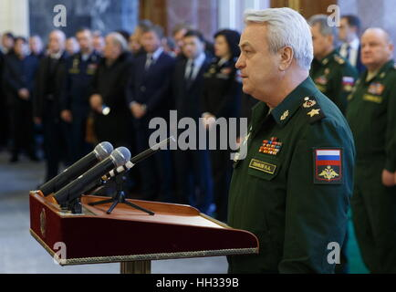 Moscow region, Russia. 16th January 2017. Russia's Deputy Defence Minister Nikolai Pankov at a farewell ceremony - Stockfoto