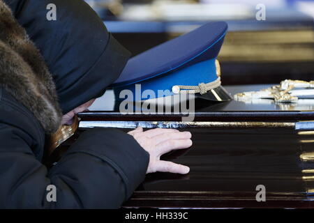 Moscow region, Russia. 16th January 2017. A farewell ceremony for Tupolev Tu-154 plane crash victims at the Federal - Stock Photo