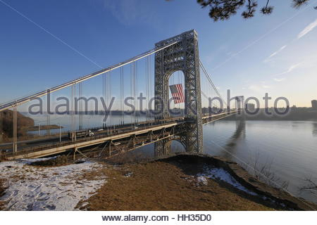 "New York City, Usa. 16th Jan, 2017. The George Washington Bridge ''"" which connects New York and New Jersey ''"" - Stock Photo"