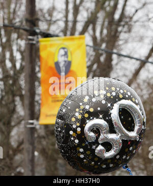 San Antonio, USA. 16th January, 2017. A balloon carried by a marcher emphasizes the 30th anniversary of the annual - Stock Photo