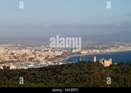 Palma de Mallorca hi view of Bellver castle and Palma de Mallorca Bay Majorca Balearic Spain - Stock Photo