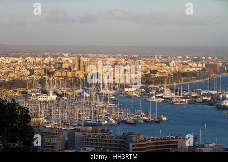 Palma de Mallorca hi view port Bay Majorca Balearic Spain - Stock Photo