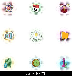 Time management icons set, pop-art style - Stock Photo