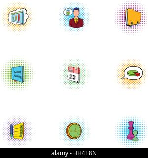 Management icons set, pop-art style - Stock Photo