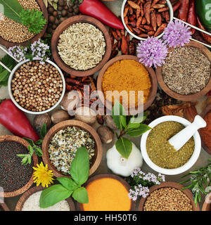 Spice and herb sampler with fresh and dried herbs and spices. High in antioxidants and vitamins. - Stock Photo