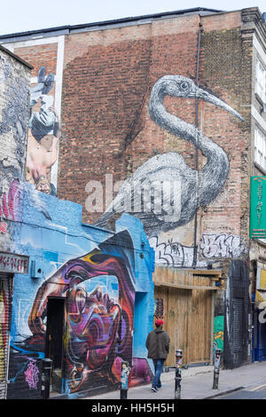 Large wall murals in Hanbury Street, Spitalfields, London Borough of Tower Hamlets, Greater London, England, United - Stock Photo
