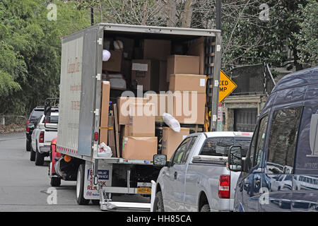 Washington, USA. 16th Jan, 2017. Boxes in the truck that are going into the home at 2446 Belmont Road, NW; Washington, - Stock Photo