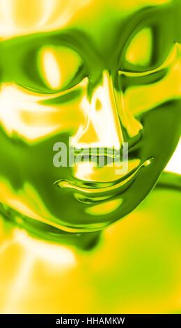abstract buddha head green yellow - Stock Photo
