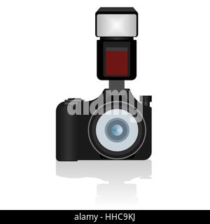 The modern digital camera with a flash. The illustration on a white background - Stock Photo