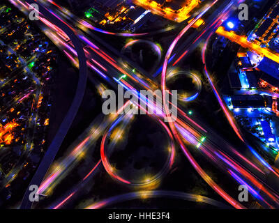 Infinity Intersection, an aerial view of the freeways in Los Angeles. - Stock Photo