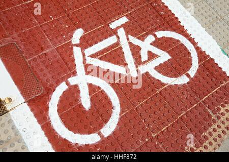 sign, signal, asphalt, road, bike, bicycle, cycle, street, pictogram, symbol, - Stock Photo