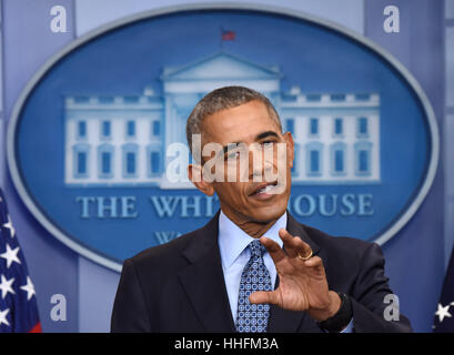 Washington, DC, USA. 18th Jan, 2017. Barack Obama speaks during his final press conference as U.S. President at - Stock Photo