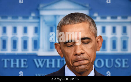 Washington, DC, USA. 18th Jan, 2017. Barack Obama reacts during his final press conference as U.S. President at - Stock Photo