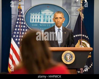 Washington, DC, USA. 18th Jan, 2017. President Barack Obama holds his last official press conference as President. - Stock Photo