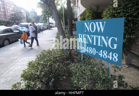 Los Angeles, USA. 18th Jan, 2017. A rental sign is seen outside a property in Los Angeles. Rents hit a new multiyear - Stock Photo