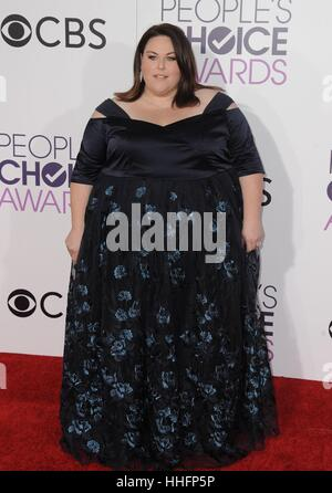 Los Angeles, CA, USA. 18th Jan, 2017. Chrissy Metz at arrivals for People's Choice Awards 2017 at the Microsoft - Stock Photo