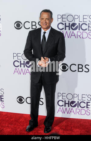 Los Angeles, USA. 18th Jan, 2017. Tom Hanks arrives for the People's Choice Awards at the Microsoft Theater in Los - Stock Photo