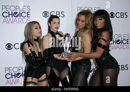 Los Angeles, Ca, USA. 18th Jan, 2017. Fifth Harmony at the 42nd Annual People's Choice Awards Press Room at Microsoft - Stock Photo
