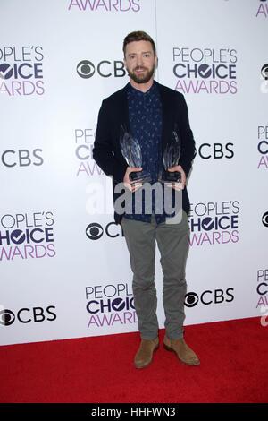 Los Angeles, Ca, USA. 18th Jan, 2017. Justin Timberlake at the 42nd Annual People's Choice Awards Press Room at - Stock Photo