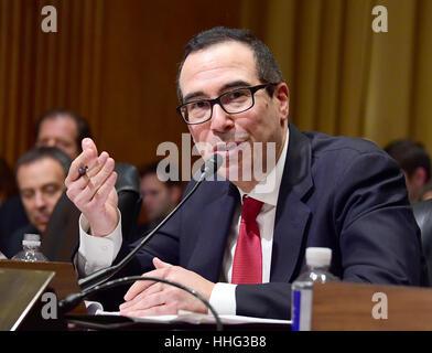 Washington, DC, USA. 19th Jan, 2017. Steven T. Mnuchin appears before the US Senate Committee on Finance considering - Stock Photo