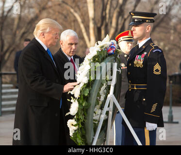 Arlington, USA. 19th Jan, 2017. US President-elect Donald J. Trump and Vice President-elect Mike Pence participate - Stock Photo