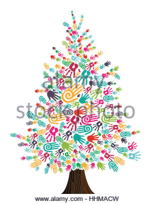 Diversity Christmas Tree hands isolated for greeting card. Vector illustration layered for easy manipulation and - Stock Photo