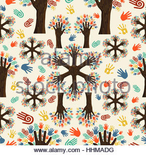 Diversity tree hands seamless pattern. Vector illustration layered for easy manipulation and custom coloring. - Stock Photo