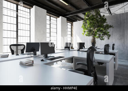 Empty desks with monitors near huge windows and green tree against cement wall. 3d Rendering. - Stock Photo