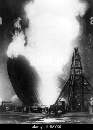 Hindenburg disaster, lakehust naval air station, new jersey, usa, 1937 - Stock Photo