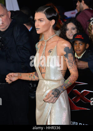 Los Angeles, USA. 19th Jan, 2017.  Actress Ruby Rose at the Los Angeles premiere of 'XXX: Return of Xander Cage' - Stock Photo