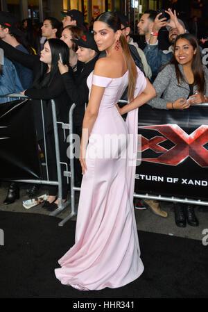 Los Angeles, USA. 19th Jan, 2017.  Actress Deepika Padukone at the Los Angeles premiere of 'XXX: Return of Xander - Stock Photo
