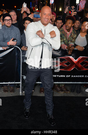 Los Angeles, USA. 19th Jan, 2017.  Actor Vin Diesel at the Los Angeles premiere of 'XXX: Return of Xander Cage' - Stock Photo