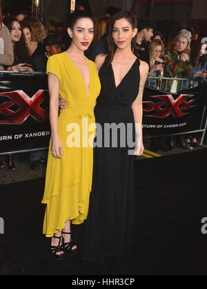 Los Angeles, USA. 19th Jan, 2017. The Veronicas arriving at the xXx Return Of Xander cage premiere at the TCL Chinese - Stock Photo