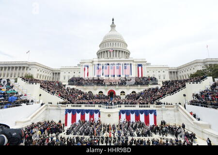 Washington DC, USA. 20th Jan, 2017. President Donald Trump takes the Oath of Office at his inauguration on January - Stock Photo