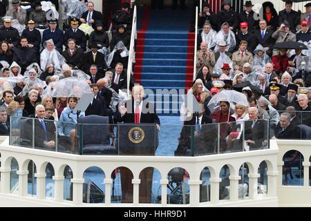 Washington DC, USA. 20th Jan, 2017. President Donald Trump delivers his inaugural address at the inauguration on - Stock Photo