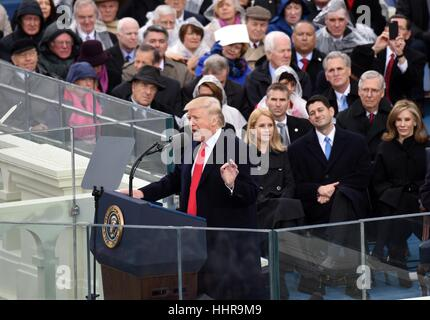 Washington, USA. 20th Jan, 2017. U.S. President Donald Trump delivers his inaugural address after he was sworn in - Stock Photo