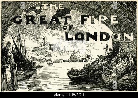 The Great Fire of London .  2 September -  5 September 1666. - Stockfoto