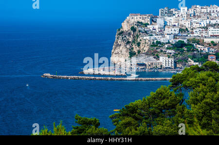 Gargano coast: bay of Rodi garganico.-(Apulia) ITALY-Panoramic view of the old city. - Stock Photo